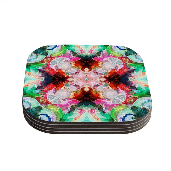 Kess InHouse Danii Pollehn 'Achat I' Red Green Coasters (Set of 4)