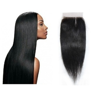 Top-grade 7A Unprocessed Virgin Brazilian Remi Yaki 4-inch Lace Part Top Closure Straight Hair