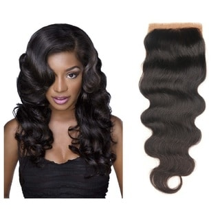 7A Black Unprocessed Virgin Human Hair With Lace Part Top Closure