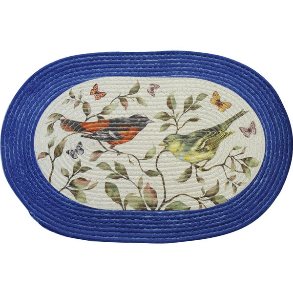Braided Love Birds Multi-color Polyester Rug (20 x 30)