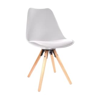 Viborg Mid-century White Polypropylene Side Chair With Natural Wood Base (Set of 2)