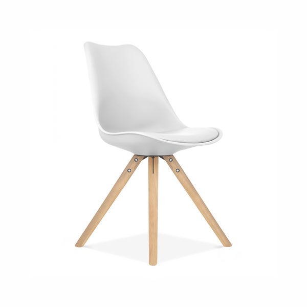 Viborg Mid Century White Side Chair with Natural Base (Set of 2)