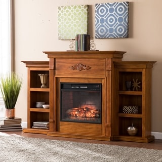 Upton Home Tomlin Glazed Pine Bookcase Infrared Fireplace