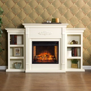 Upton Home Tomlin Ivory Bookcase Infrared Electric Fireplace