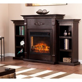 Upton Home Tomlin Classic Espresso Bookcase Infrared Electric Fireplace