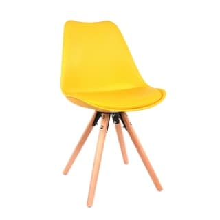 Viborg LS-1000-YLWNAT Yellow with Natural Wood Base Mid-century Side Chair Set