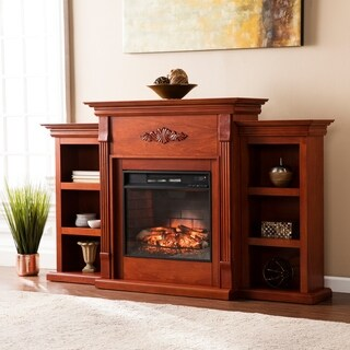 Upton Home Classic Mahogany Bookcase Infrared Fireplace