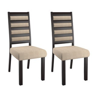 CorLiving Bistro Espresso Rubberwood, Wood, and Fabric Ladder Back Dining Chairs (Set of 2)