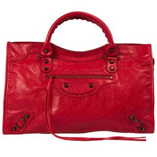 Balenciaga Classic City Medium Lambskin Hand Carry and Shoulder Bag in Lipstick Red