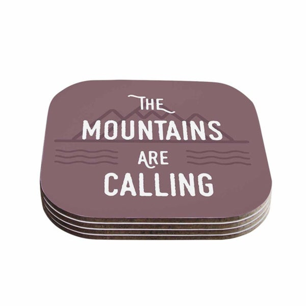 Kess InHouse Jackie Rose 'The Mountains Are Calling' Purple Typography Coasters (Set of 4)