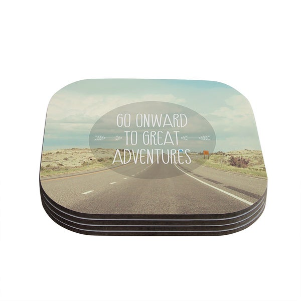 Kess InHouse Jillian Audrey 'Go Onward to Great Adventures' Typography Coasters (Set of 4)