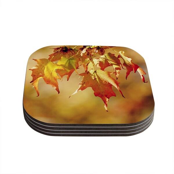 Kess InHouse Angie Turner 'Autumn Leaves' Vibrant Orange Coasters (Set of 4)