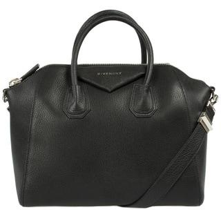 Givenchy Medium Antigona Sugar Goatskin Leather Satchel Bag in Black with Silver Hardware