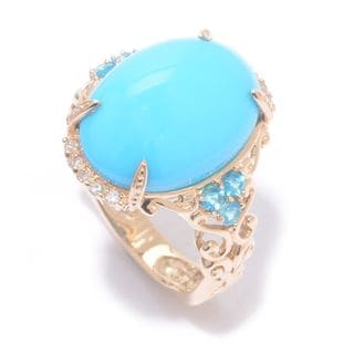 Michael Valitutti Cabochon Sleeping Beauty Turquoise with Diamonds and Neon Apatite Ring