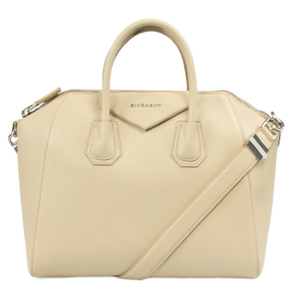 Givenchy Medium Antigona Goatskin Leather Beige Satchel Bag with Shoulder Strap and Silver Hardware