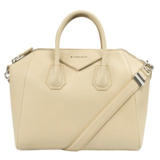 Givenchy Medium Antigona Leather Satchel Bag w/ Shoulder Strap in Beige with Silver Hardware
