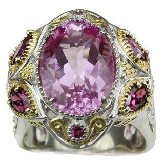 Michael Valitutti Kunzite Quartz with Rhodolite and Pink Sapphire Ring