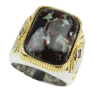Michael Valitutti Mens Cabochon Eudialyte with Princess Cut Amethyst Ring