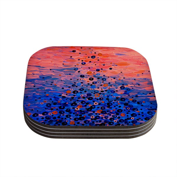 Kess InHouse Ebi Emporium 'What Goes Up' Blue Pink Coasters (Set of 4)
