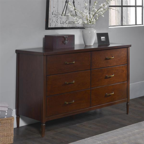 Dorel Living Brook Lane Walnut 6-Drawer Dresser