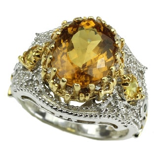Michael Valitutti Canary Beryl with Diamond and Yellow Sapphire Ring