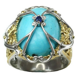 Michael Valitutti Mexican Turquoise Cabochon with Blue Sapphire Ring