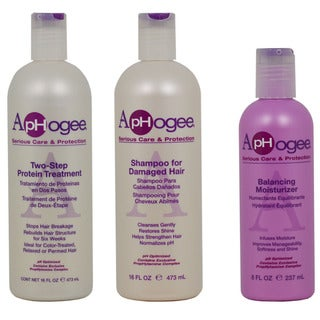 ApHogee 2-Step 3-piece Set Protein Treatment, Shampoo for Damaged Hair and Balancing Moisturizer