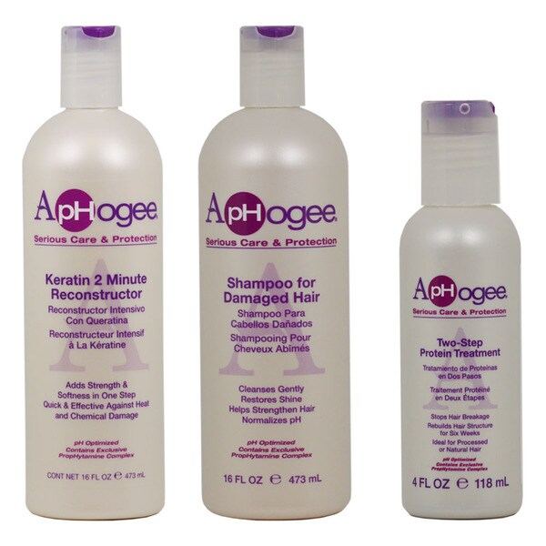ApHogee Keratin 2-minute Reconstructor, Shampoo for Damaged Hair, and Two-step Protein Treatment (Set of 3)