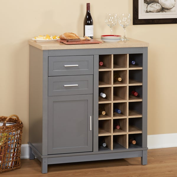 Simple Living Kennedy Grey Mdf Wine Cabinet With Open Rack