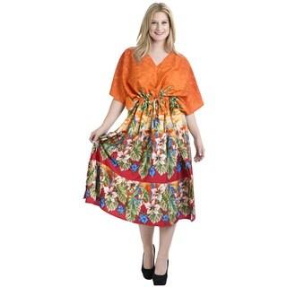 La Leela Women's Multicolored Floral Loose-fitting V-neck Maxi Dress