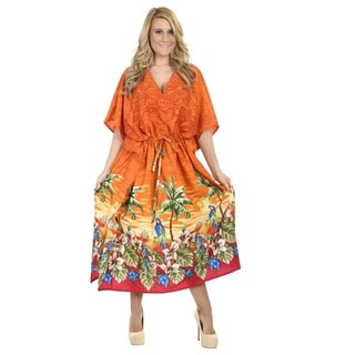 La Leela Women's Orange Palm Tree and Bird Patterned Likre Maxi Dress