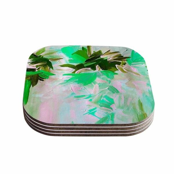 Kess InHouse Ebi Emporium 'Deconstructing the Garden 5' Green Olive Coasters (Set of 4)
