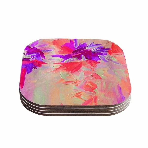 Kess InHouse Ebi Emporium 'Deconstructing the Garden 3' Purple Pink Coasters (Set of 4)