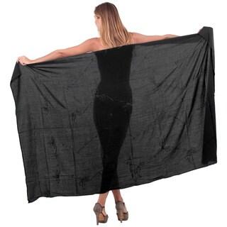 La Leela Women's Black Rayon Hand-embroidered Wrap Skirt with Sarong Clip