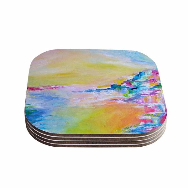 Kess InHouse Ebi Emporium 'Something About the Sea' Yellow Multicolor Coasters (Set of 4)