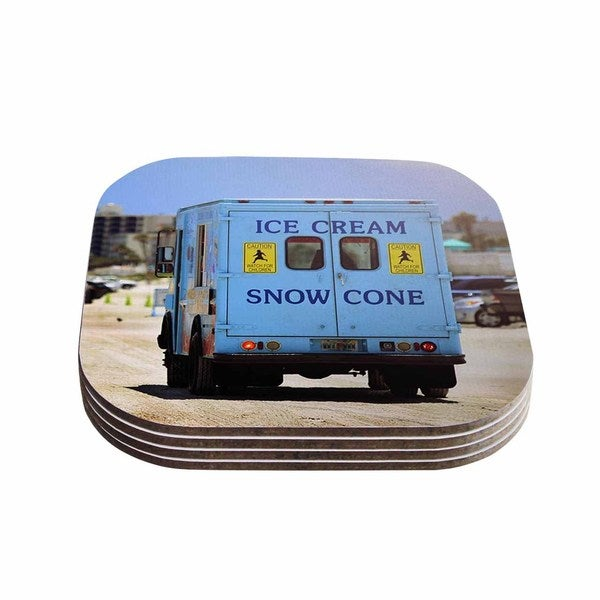 Kess InHouse Angie Turner 'Ice Cream Truck' Blue Yellow Coasters (Set of 4)