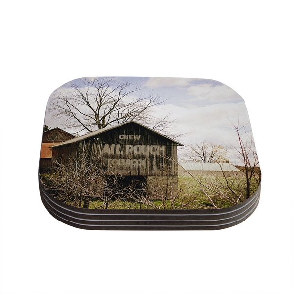 Kess InHouse Angie Turner 'Mail Pouch Barn' Wooden House Coasters (Set of 4)