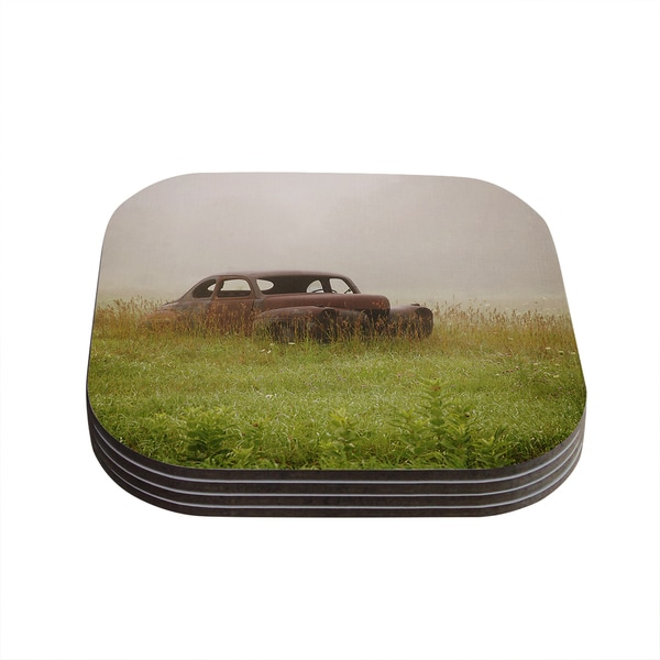 Kess InHouse Angie Turner 'Forgotten Car' Grass Coasters (Set of 4)