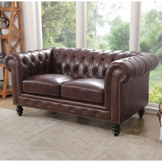 Abbyson Living Brown Top-grain Leather Grand Chesterfield Loveseat