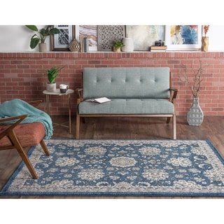Alise Kinsley Oriental Beige/Blue/Grey/Navy Polypropylene Area Rug (5'3 x 7'3)