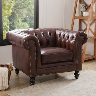 Abbyson Living Grand Chesterfield Brown Top Grain Leather Armchair