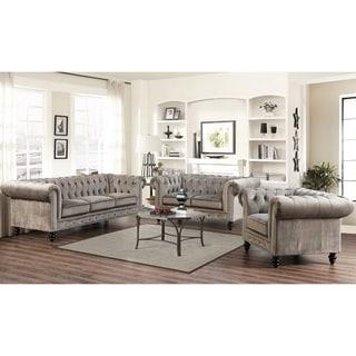 Abbyson Living Grand Chesterfield Grey Velvet 3 Piece Sofa, Loveseat, and Armchair