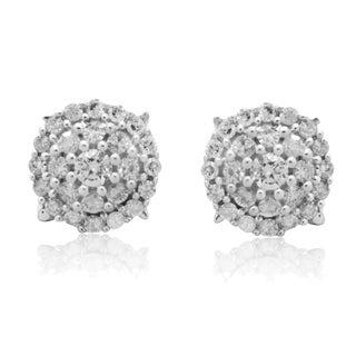 10k White Gold 1/2ct TDW Diamond Round Halo Stud Earrings (H-I, I3)