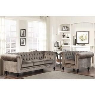 Abbyson Living Grand Chesterfield Grey Velvet Sofa and Armchair