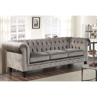 Abbyson Living Grand Chesterfield Grey Velvet Sofa
