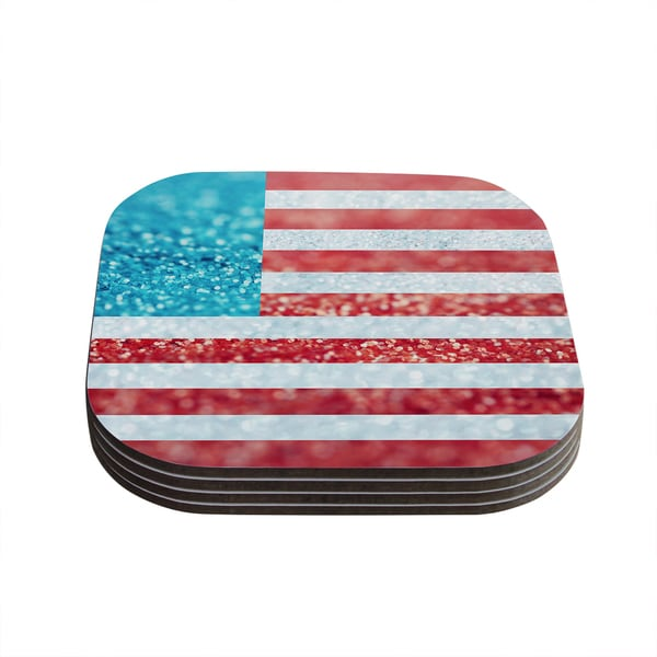 Kess InHouse Beth Engel 'Red White and Glitter' Flag Coasters (Set of 4)