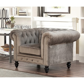 Abbyson Living Grand Chesterfield Grey Velvet Armchair