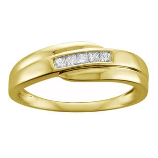 Montebello Jewelry 14k Yellow Gold Men's 1/4ct TDW Diamond Wedding Band (H-I, I1-I2)