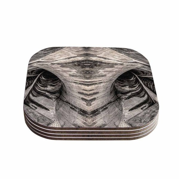 Kess InHouse Bruce Stanfield Dam Reticulation The Void Black Wood Coasters (Set of 4)