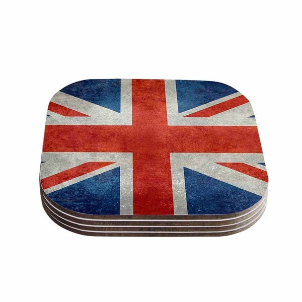 Kess InHouse Bruce Stanfield 'UK Union Jack Flag' Red Blue Coasters (Set of 4)